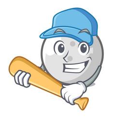 playing baseball golf ball character cartoon vector image