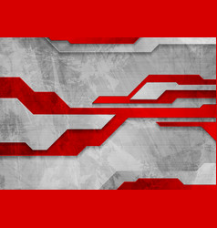 red grey tech grunge abstract background vector image