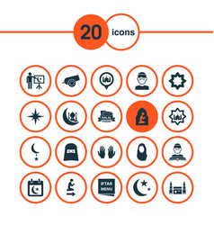 religion icons set with calendar man qiblah and vector image