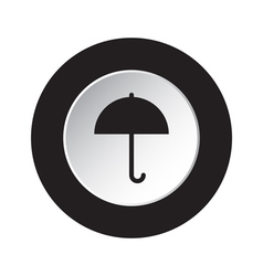 Round black and white button - umbrella icon vector