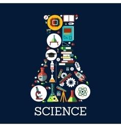 Science conceptual beaker emblem vector