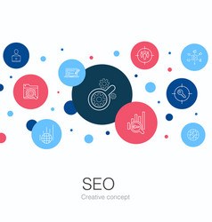 Seo trendy circle template with simple icons vector