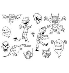 set cartoon halloween monsters like zombie vector image