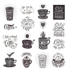 Set of coffee quotes with a cup hand-drawn vector