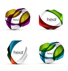 set of hexagon shape business emblems vector image