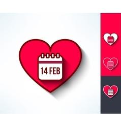 Set of valentines calendar reminder symbols vector image