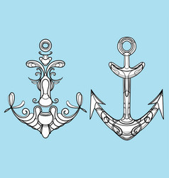 set stylized ship anchors linear art vector image