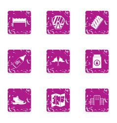 severe preparation icons set grunge style vector image