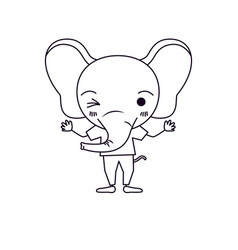 Sketch silhouette caricature of cute elephant wink vector