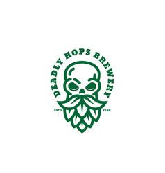 Skull hops logo vector