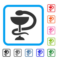 Snake cup framed icon vector
