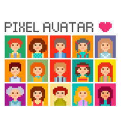 Square pixel avatars vector