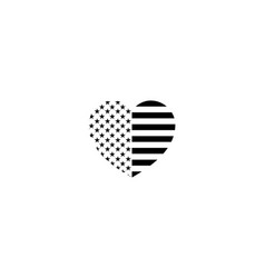 stylish flag of the usa in the form of a heart vector image