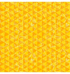 Tea and sweets seamless pattern on geometric vector image