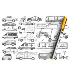 types vehicles doodle set vector image