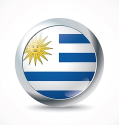 Uruguay flag button vector image