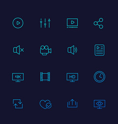 video player icons linear vector image