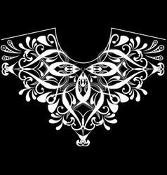 Vintage floral black and white neckline pattern vector