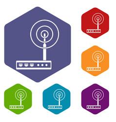 wifi router icons set hexagon vector image