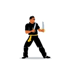 Wing Chun kung fu Master with two swords vector image