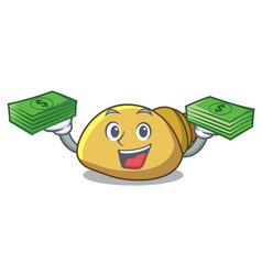 With money bag mollusk shell mascot cartoon vector