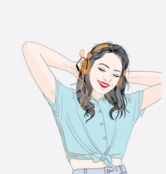 women are listening to her favorite songs vector image