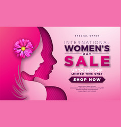 Womens day sale design with beautiful woman face vector