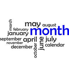 word cloud month vector image