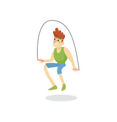 young man skipping with jump rope man working out vector image