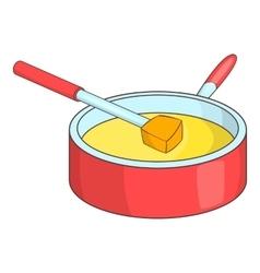 Cheese fondue icon cartoon style vector image vector image