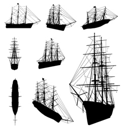 old ship silhouette vector image vector image