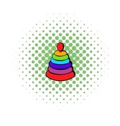 Pyramid toy icon comics style vector image