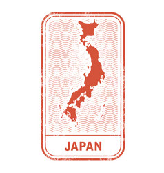 Stamp with contour of map of japan vector