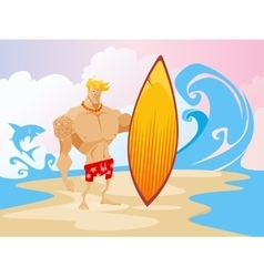 Surfer on the Beach Caracter vector image vector image