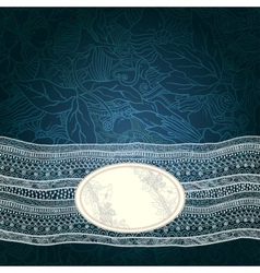 Template frame design for card with lace ribbon vector image