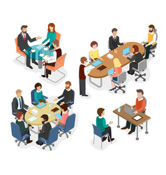 the office team discussed working questions vector image vector image