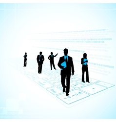 Business people on technology background vector