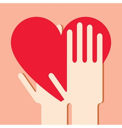 Hands with heart vector image