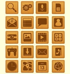 Leather Emboss Smartphone Icon vector image vector image