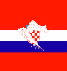 map and flag of croatia vector image