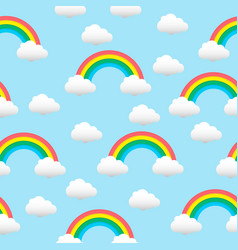 pattern with a rainbow and clouds vector image