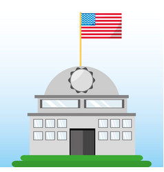 white house with american flag symbol vector image