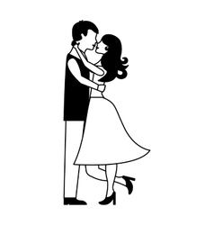 lovers couple characters icon vector image