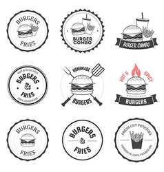 Set of burger and fries restaurant design elements vector