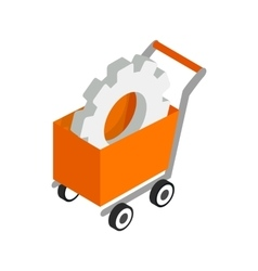 Shopping cart with gears icon isometric 3d style vector image vector image