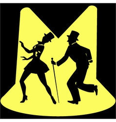 Tap dancing performers on stage under spotlights vector image