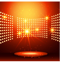 beautiful podium with many lights vector image vector image