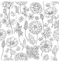 doodle flowers seamless vector image vector image