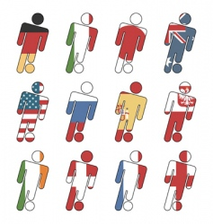 football flag icons vector image vector image