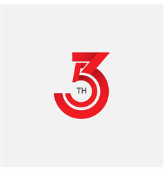 53 th anniversary template design vector